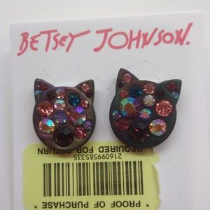Betsey Johnson New Multi-Rhinestone Cat Earrings
